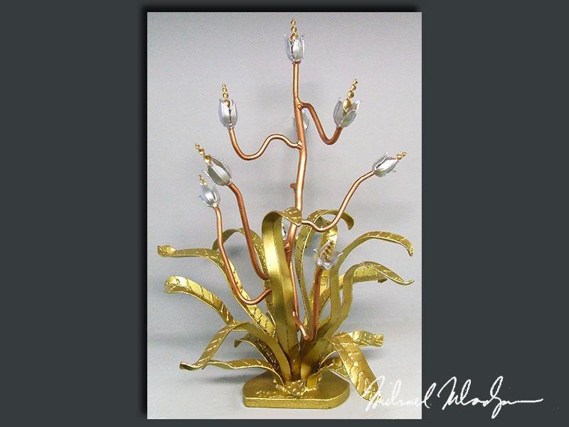 "40""H x 24""W - SPIKEY TULIP - Metallic Paint - $1250"