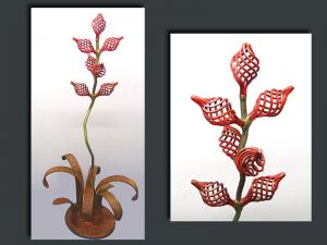 "36""""H   -  Red Basket Flower  -   $650.00"